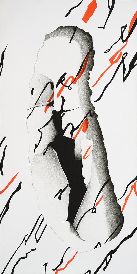 Oltre la soglia, 2008, cm 160 x 80, Acrilico e sabbia su tela